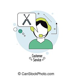 Operator man with headphone icon. Customer Sevice design....