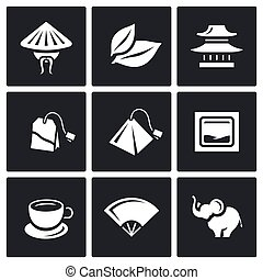 Vector Set of Tea Icons. China, Leaf, Temple, Teabag, Cup,...