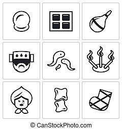 Vector Set of Alternative Medicine Icons - Cupping-glass,...