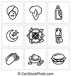 Vector Set of Fire Show Icons. Fakir, Flame, Fuel, Night,...
