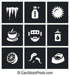Vector Set of Disease Icons. Cooling, Temperature, Heat,...