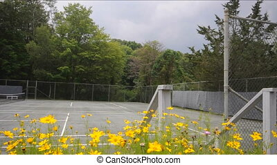 tennis courts with flowers - tennis courts private club with...
