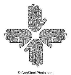 hands human around icon team