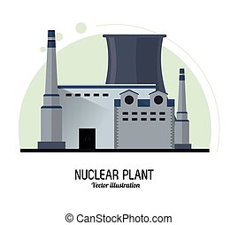 Nuclear plant power industry icon Vector graphic - Nuclear...