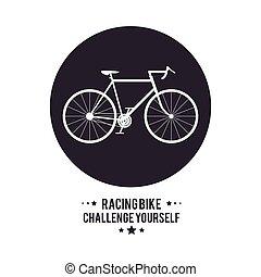 bike cycle bicycle racing challenge yourself icon. Vector...