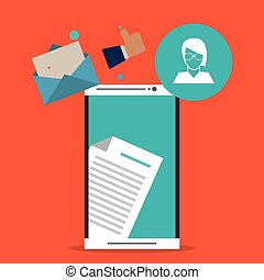 Envelope avatar smartphone email message icon. Vector graphic