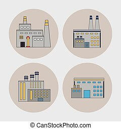Plant set building chimney factory industry icon. Vector graphic