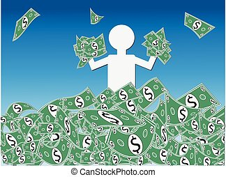 Dollar Cash Windfall - Jubilant person waist deep in a mound...