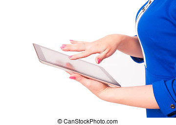 Woman holding a tablet pc, isolated on a white background...