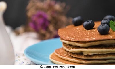 Pancakes with fresh blackberries - Delicious golden pancakes...