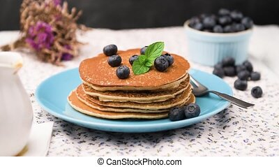 Pancakes with fresh blackberries