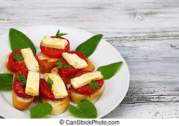 Grilled open sandwich with tomato and cheese - Decorated...