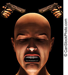 Fear Of Violence - Concept image about fearing violence and...