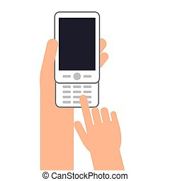 hands with cellphone with buttons icon