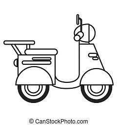 single scooter icon - flat design single scooter icon vector...