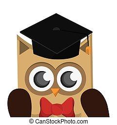 búho, gorra, caricatura, graduación, icono