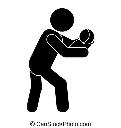 man carrying baby icon - flat design man carrying baby icon...