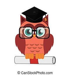 owl cartoon with graduation cap and diploma icon