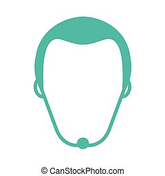 faceless man with facial hair icon - flat design faceless...
