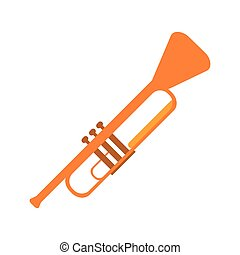 single trumpet icon - flat design single trumpet icon vector...