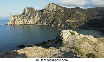 View of Blue bay and mount Karaul-Oba Mountains in Crimea at...