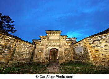 Chinese ancient architecture Night - In remote, rural China,...