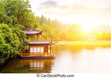 China Hangzhou West Lake - Traditional ship at the Xihu...