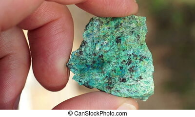 Oxide Copper Ore Rock Chip Sample - Close up shot of the...