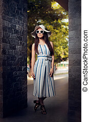 Woman in Summer Dress with Stripes - Cute fashion girl in...