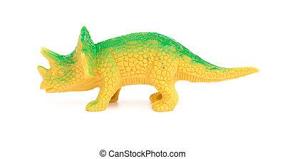 juguete, Triceratops, verde, Plano de fondo, blanco, lado,...