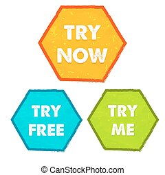 try now, try free, try me, vector - try now, try free, try...