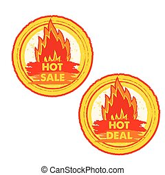 hot sale and deal on fire, vector