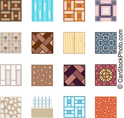 Floor materials flat vector icons tiles - Floor materials...