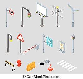 Isometric traffic management. Urban 3D vector icons -...