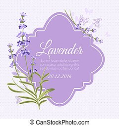 Greeting card, invitation vector template with fragrant lavender