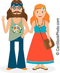Hippie girl and man icons - Hippie sixties girl and man of...