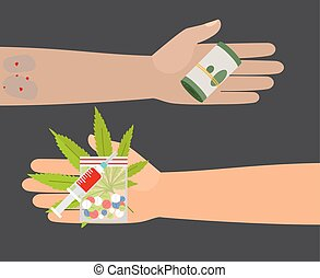 Drugs buy vector illustration - Drug buy. Give money and...