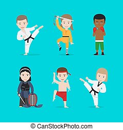 Kids martial arts vector icons - Kids martial arts vector...