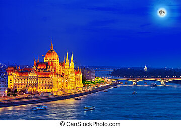 Hungarian Parliament and Margaret bridge at night. Budapest....