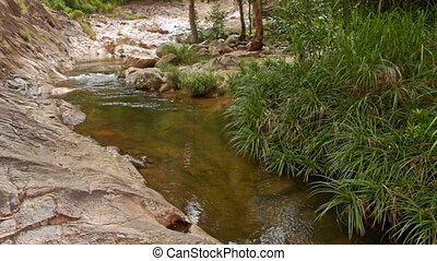 Narrow Mountain River among Rocky and Woody Banks - panorama...