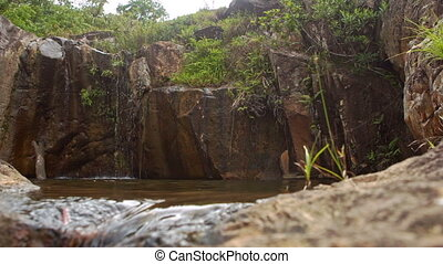 Water Flows out of Round Pool with Small Streams from Rock...