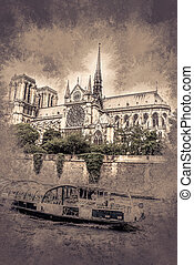 notre-dame and boat, view from Seine - notre-dame church,...