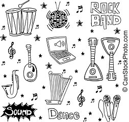 Element music doodles hand draw