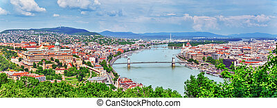 Panorama View on Elisabeth Bridge and Budapest,bridge...