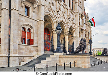 Hungarian Parliament Main Entrance. Budapest. Fragments of...