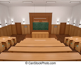 An empty modern lecture style university classroom 3d...