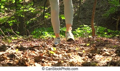Female hiker's feet walking in the woods. 4K steadicam tracking shot