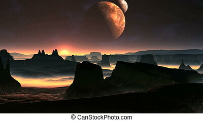Two Moons And Sunrise On A Planet O - Two moons slowly...