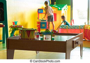 tocando,  playroom, crianças, jovem, dois