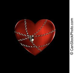 locked red heart - dark background and the big red...